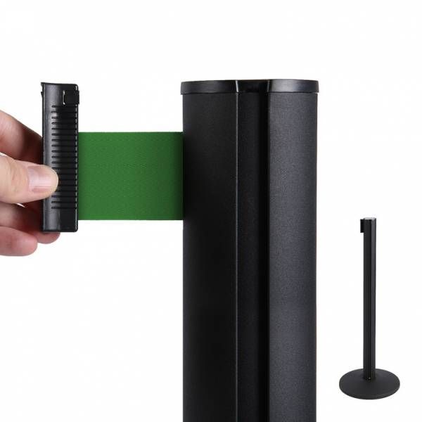 Absperrständer (schwarz) für Gurtband (grün)