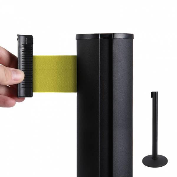 Absperrständer (schwarz) für Gurtband (gelb)