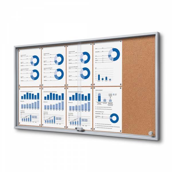 Kork Schaukasten mit Schiebetüren SLIM Indoor 10xA4