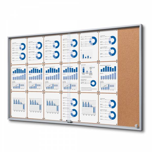 Kork Schaukasten mit Schiebetüren SLIM Indoor 21xA4