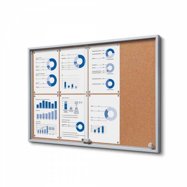 Kork Schaukasten mit Schiebetüren SLIM Indoor 8xA4