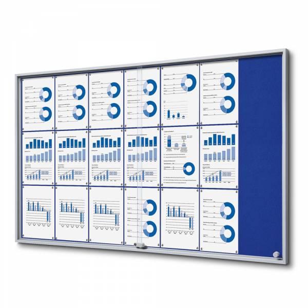 Schaukasten mit Schiebetüren SLIM Filz 21xA4 blau