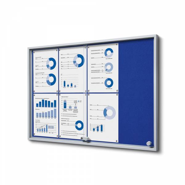 Schaukasten mit Schiebetüren SLIM Filz 8xA4 blau