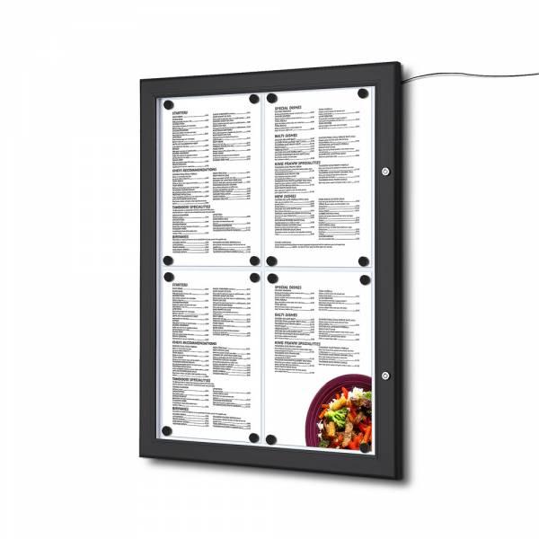 MenüKasten Outdoor Schwarz 4x DIN A4 LED
