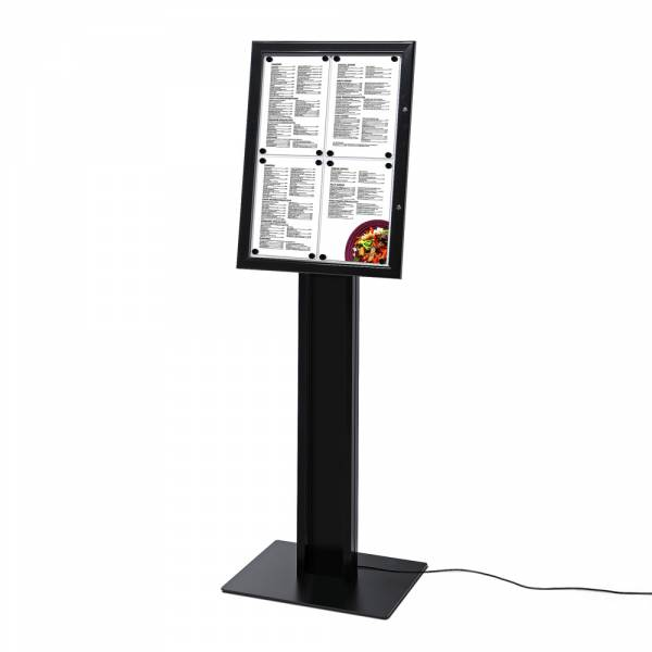 Menüstand Schwarz Freistehend DIN A4 LED