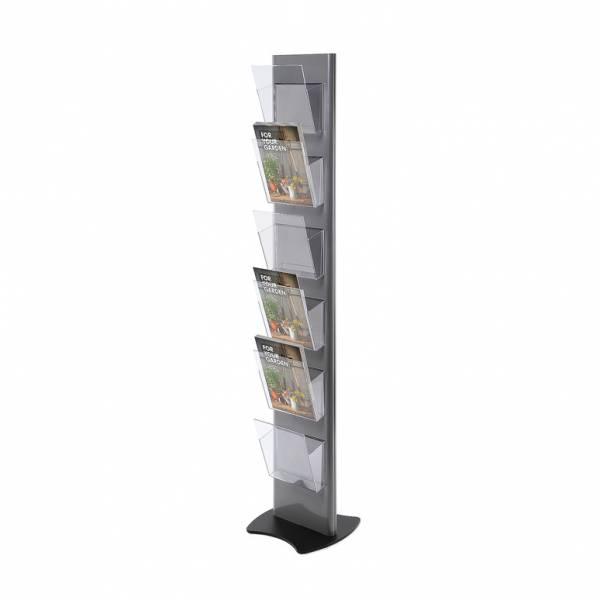 Torre Prospektständer, grau - mit 6 A4-Prospekthalter